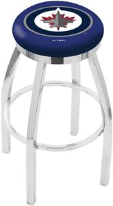 Winnipeg Jets NHL Flat Ring Chrome Bar Stool