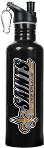 NFL New Orleans Saints Black Steel Water Bottle