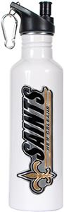 NFL New Orleans Saints White Steel Water Bottle