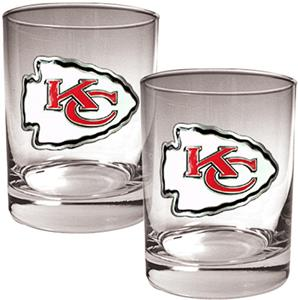 NFL Kansas City Chiefs 14oz Rocks Glass Set of 2