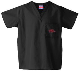 Univ of Arkansas Razorbacks Black Scrub Tops