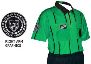USSF Pro Soccer Referee Jerseys Green -Striped