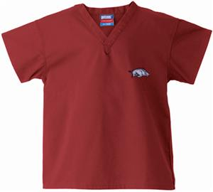 Univ of Arkansas Razorback Kid's Crimson Scrub Top