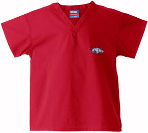 Univ of Arkansas Razorbacks Kid's Red Scrub Tops