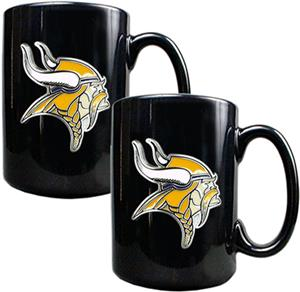 NFL Minnesota Vikings Black Ceramic Mug (Set of 2)