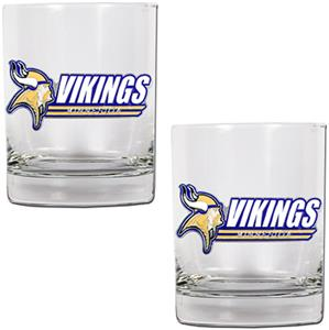 NFL Minnesota Vikings 14oz 2 piece Rocks Glass Set