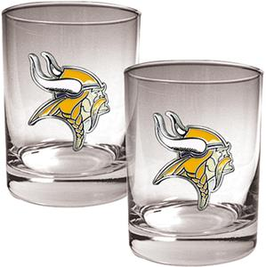 NFL Minnesota Vikings 2 piece Rocks Glass Set