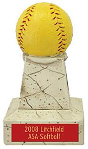 "Hasty Awards 5"" Softball Stone Tower Trophy"