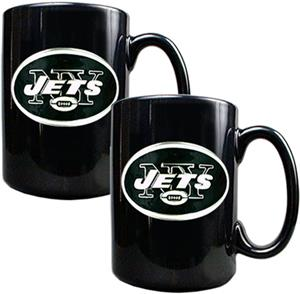 NFL New York Jets Black Ceramic Mug (Set of 2)