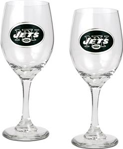NFL New York Jets 2 Piece Wine Glass Set