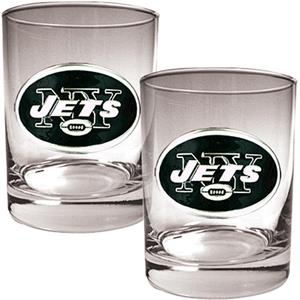 NFL New York Jets 14oz 2 piece Rocks Glass Set