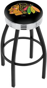 Chicago Blackhawks Blk NHL Ribbed Ring Bar Stool