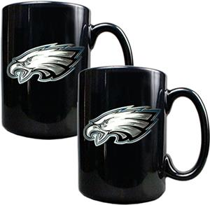 NFL Philadelphia Eagles Black Ceramic Mug Set of 2