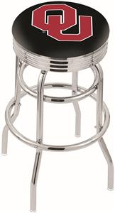 Oklahoma University Ribbed Double-Ring Bar Stool
