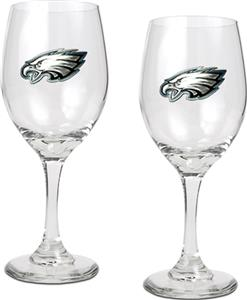 NFL Philadelphia Eagles 2 Piece Wine Glass Set