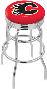 Calgary Flames NHL Ribbed Double-Ring Bar Stool