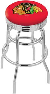 Chicago Blackhawks NHL Rib Double-Ring Bar Stool