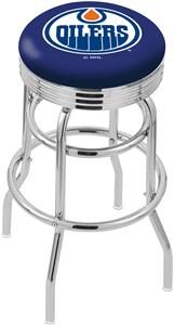 Edmonton Oilers NHL Ribbed Double-Ring Bar Stool