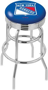 New York Rangers NHL Ribbed Double-Ring Bar Stool