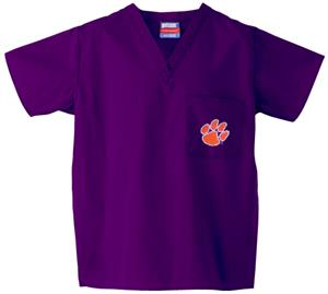 Clemson University Purple Classic Scrub Tops