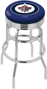 Winnipeg Jets NHL Ribbed Double-Ring Bar Stool