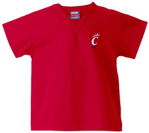 University of Cincinnati Kid's Red Scrub Tops