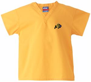 Univ of Colorado Buffaloes Kid's Gold Scrub Tops