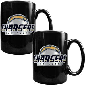 NFL San Diego Chargers Black Ceramic Mug Set of 2
