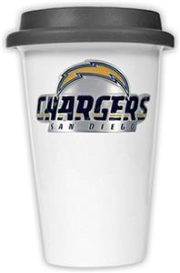 NFL San Diego Chargers Ceramic Cup with Black Lid