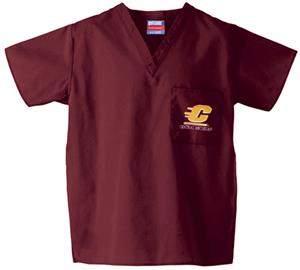 Central Michigan Univ Maroon Classic Scrub Tops