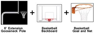 Create-Your-Own Gooseneck Basketball System-6' Ext