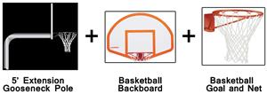Create-Your-Own Gooseneck Basketball System-5' Ext