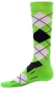 Red Lion Neon Green Argyle Compression Socks