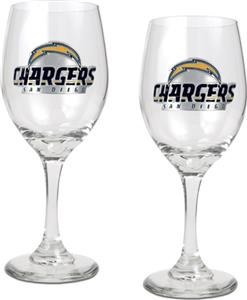 NFL San Diego Chargers 2 Piece Wine Glass Set