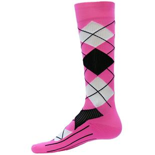 Red Lion Neon Pink Argyle Compression Socks