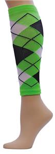Red Lion Neon Green Argyle Compression Leg Sleeves