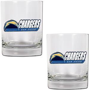 NFL San Diego Chargers 2 piece Rocks Glass Set