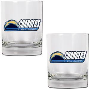 NFL San Diego Chargers 2 piece Rocks Glass Set
