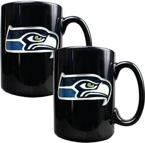 NFL Seattle Seahawks Black Ceramic Mug (Set of 2)