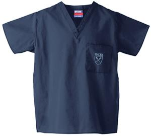 Emory University Navy Classic Scrub Tops