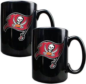 NFL Buccaneers Black Ceramic Mug (Set of 2)