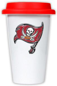 NFL Tampa Bay Buccaneers Ceramic Cup with Red Lid