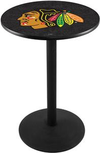 Chicago Blackhawks Blk NHL Round Base Pub Table