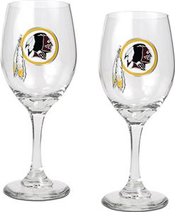 NFL Washington Redskins 2 Piece Wine Glass Set