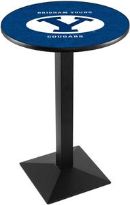 Brigham Young Uni Blk/Chrome Square Base Pub Table