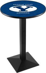 Brigham Young Uni Blk/Chrome Square Base Pub Table