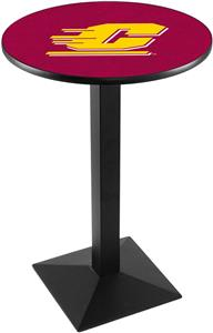 Central Michigan U Blk/Chrm Square Base Pub Table