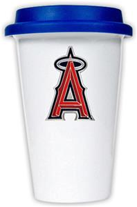 MLB Angels 12oz Double Wall Ceramic Cup w/Blue Lid
