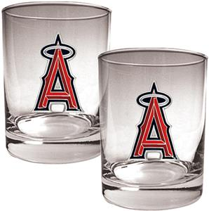 MLB Anaheim Angels 2 piece 14oz Rocks Glass Set