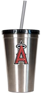 MLB Angels 16oz Stainless Steel Tumbler with Straw